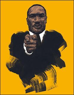 Dessin de Martin luther King pointant le doigt dans notre direction