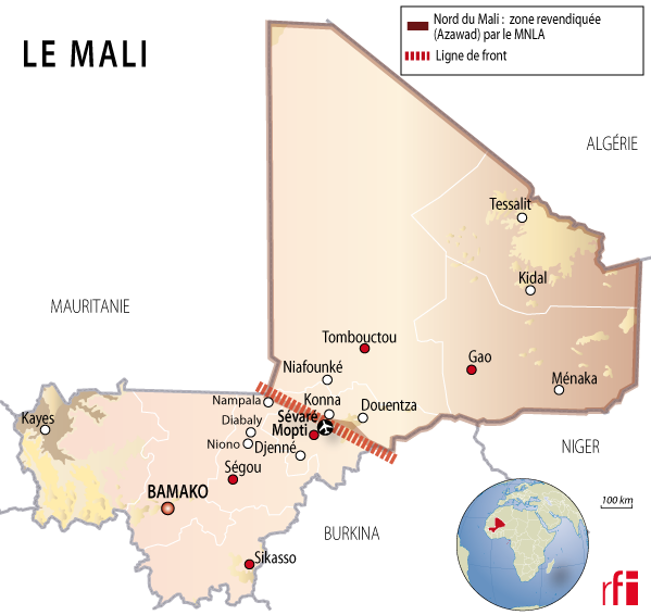 Carte mali - offensives jihadistes
